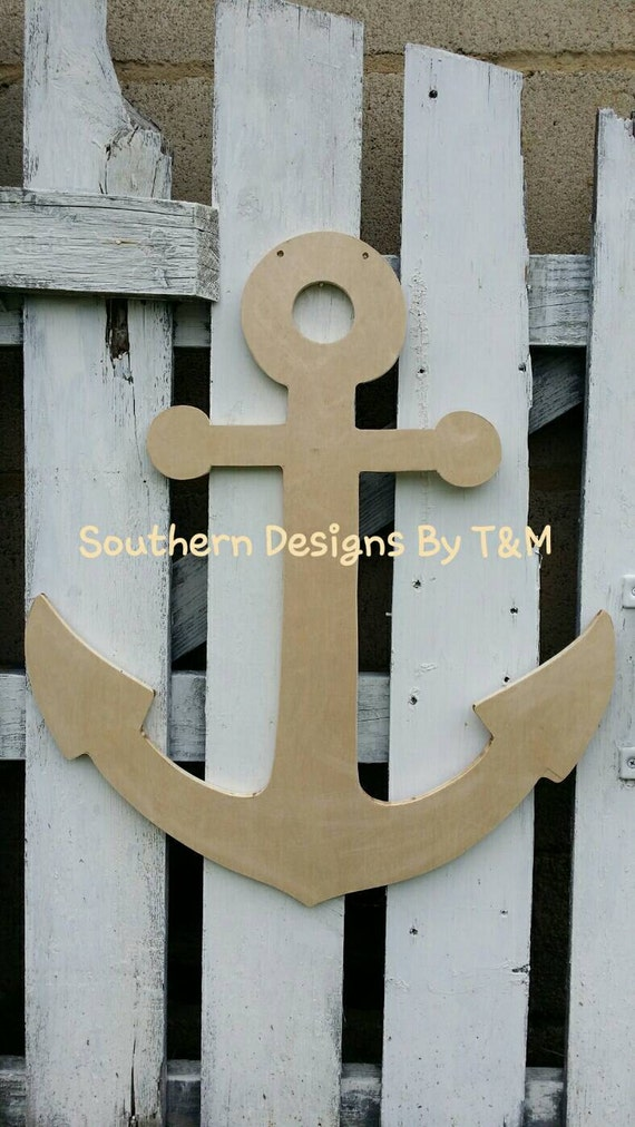 Items similar to unfinished wooden anchor door hanger for Anchor door decoration