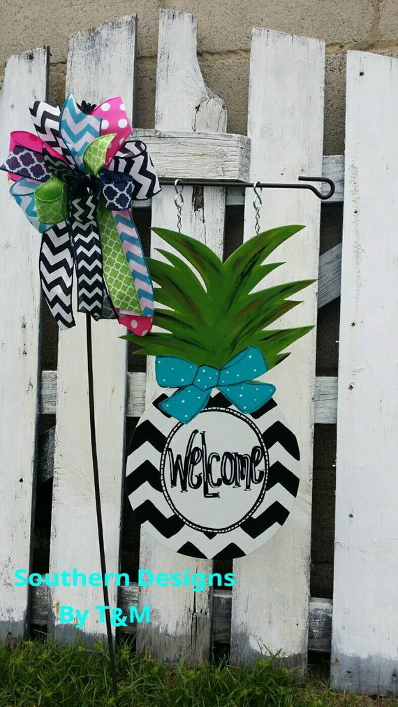 Items similar to pineapple garden flag wooden yard sign for Pineapple outdoor decor
