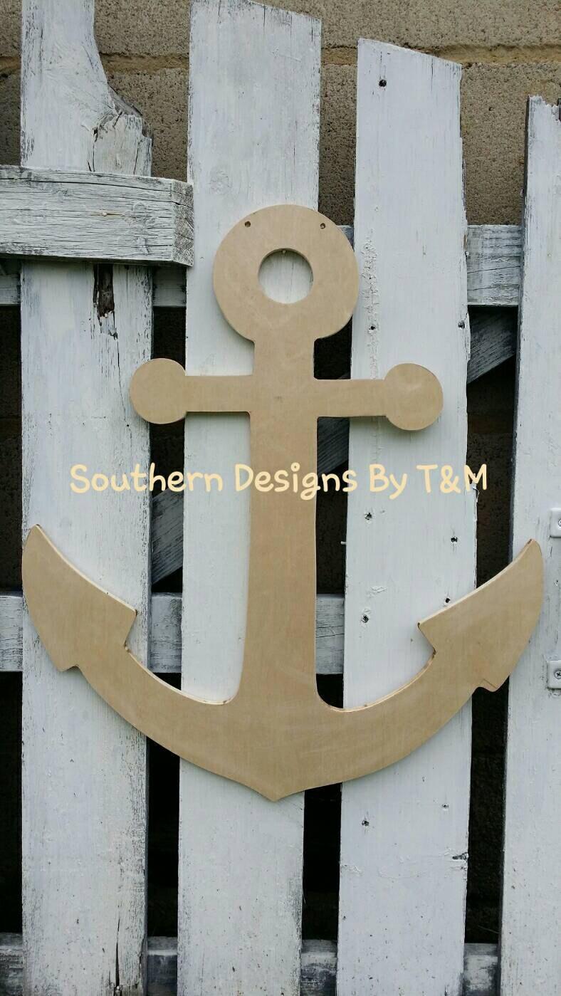 Unfinished wooden anchor door hanger wall decor nautical for Anchor door decoration