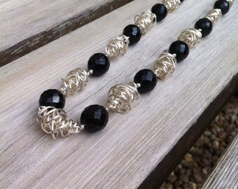 Black Crystal and Silver Twist Necklace