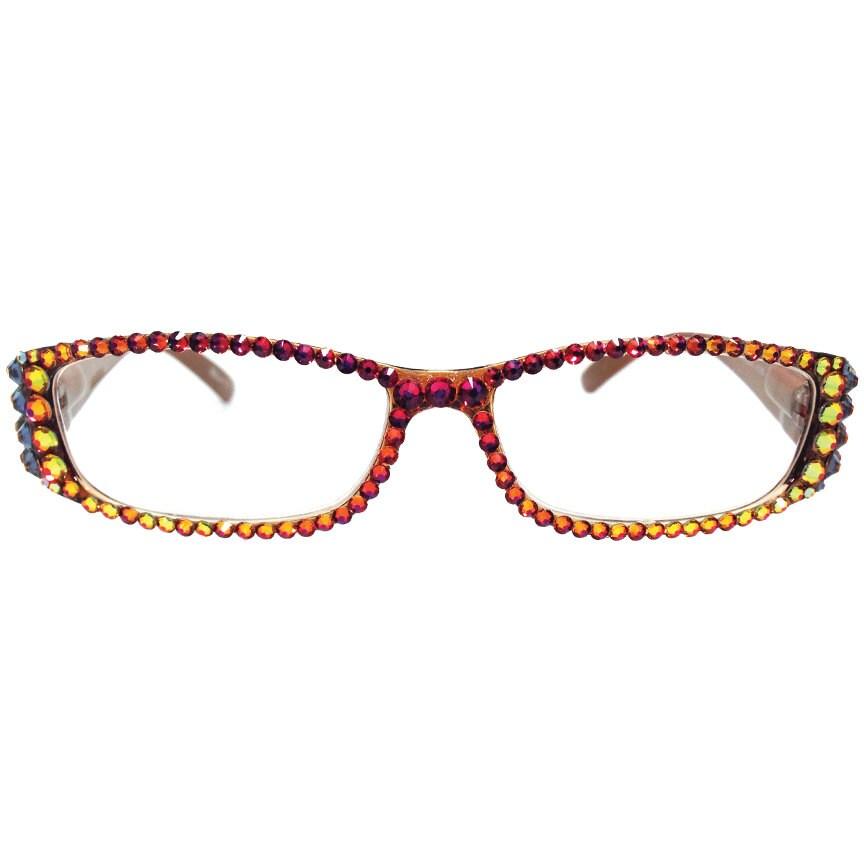 Eyeglass Frames With Swarovski Crystals : Swarovski Crystal Reading Glasses Volcano Aztec