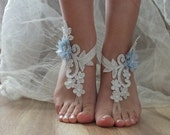 silver lace wedding barefoot sandals french lace sandals, wedding anklet, Beach wedding barefoot sandals,