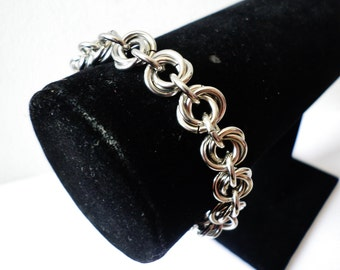Stainless Steel Chainmail Mobius Weave Bracelet - Chainmaille Mobius Flower Jewelry