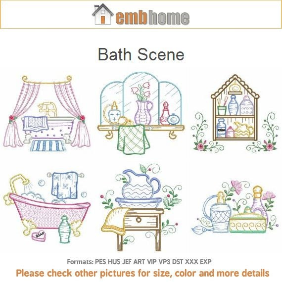 Bath scene machine embroidery designs instant download 4x4 5x5 for Bathroom embroidery designs