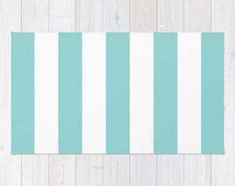 Stripes Area Rug - Blue and White Stripes Rug - Printed Rug - Modern Home Decor - Aldari Home