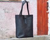 Leather shopper bag, handmade bag, bag for women, tote bag, leather tote, leather shopper bag, womens bag, bags, shopper, tote, B014 Black