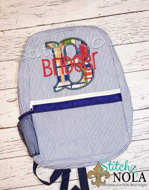 Seersucker Backpack with Letter Applique in Madras Plaid, Seersucker Diaper Bag, Seersucker School Bag, Seersucker Bag, Diaper Bag, School B