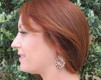 Rose Quartz, Tourmaline and Pearl 14K Rose Gold Filled Handmade Earrings