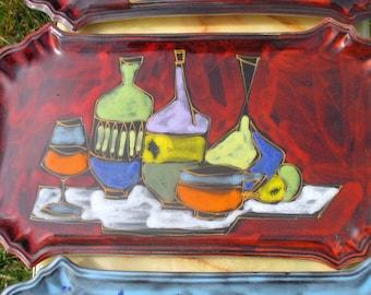 Vintage 60s 70s Italian Ceramic Fruit serving platter Fratelli Gambone