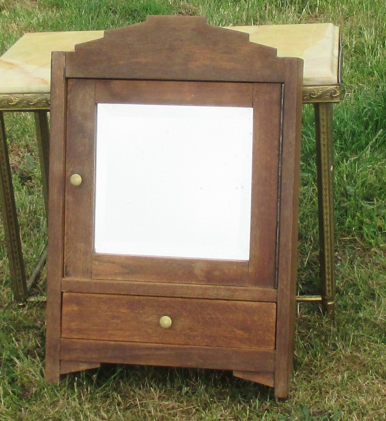 Vintage Medicine Bathroom Cabinet Beveled Glass Mirror