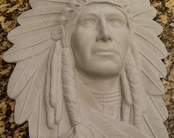 Indian chief wall plaque ready to paint ceramic bisque