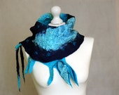 Felted scarf nuno felted collar blue navy azure silk merino, art wrap, unique, art scarf, neck warmer, avangarde, gift for her, OOAK