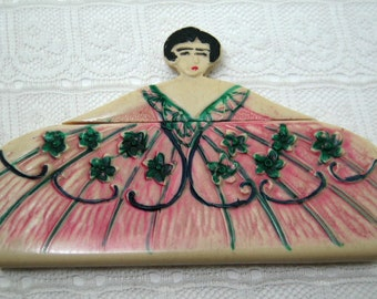 Wonderful Celluloid Figural Ladies Purse Hair Comb LOOK !