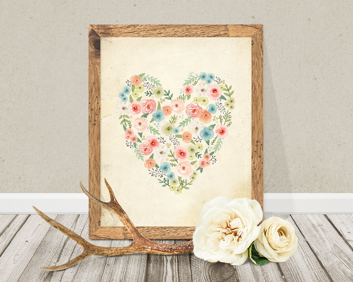 Vintage floral heart flowers printable bohemian wall art for Boho wall decor