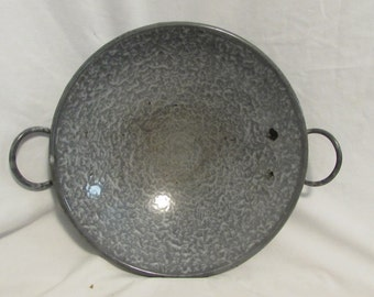 Graniteware, Round Bottom Bowl With Handles, 1930's
