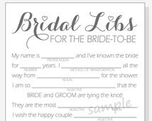 DIY Bridal Shower Mad Libs Game - Printable Cards - clear, red, purple and pink hearts - Calligraphy