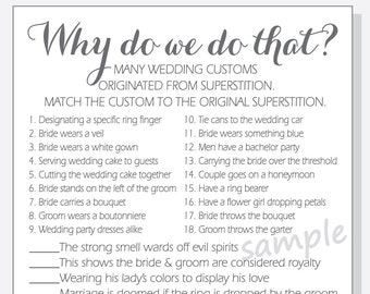 DIY Why do we do that? Printable Cards - Bridal Shower Game with Answer Key