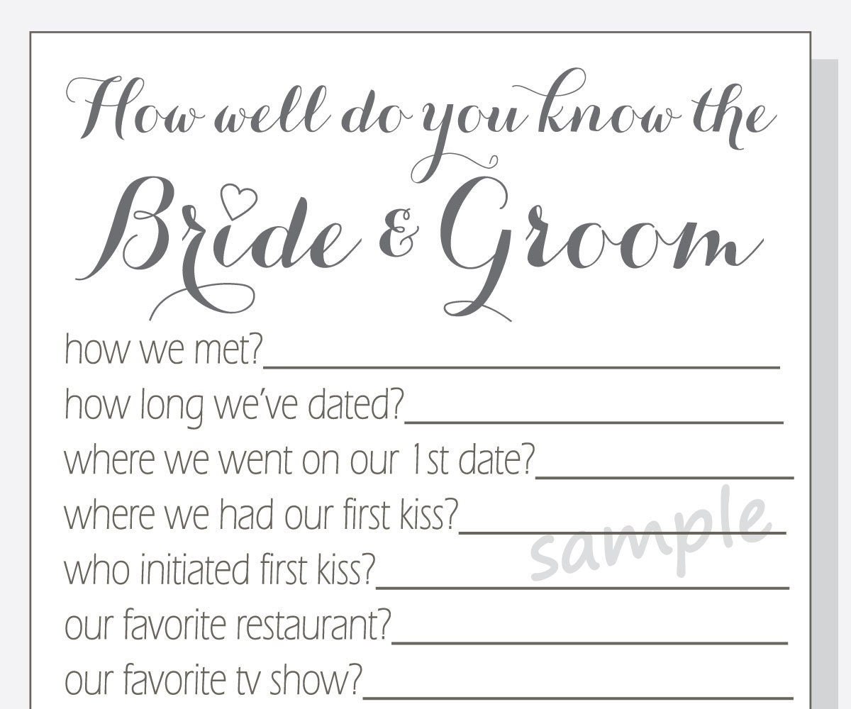 DIY How Well Do You Know The Bride And Groom Printable Cards