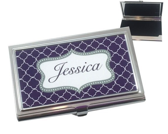 Personalized business card holder custom by onesassysister for Personalized gift cards for businesses