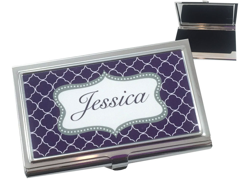 Personalized business card holder custom by onesassysister for Custome business cards