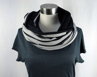 Women's bamboo infinity scarf, grey black stripe circle scarf, modern ladies winter scarf, gifts for her, made to order