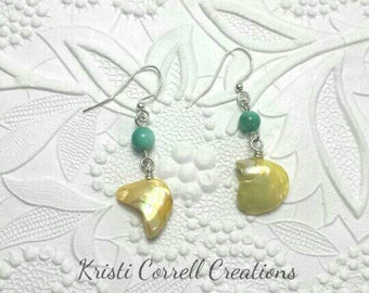 Turquoise and yellow shell earrings, turquoise and yellow earrings, shell yellow earrings, shell earrings, Turquoise shell earrings, shells