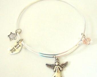 Angel Expandable Wire Bangle Bracelet by EverTrend, Stackable Bangle Bracelet