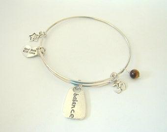 Balance Namaste Expandable Wire Bangle Bracelet by EverTrend, Stackable Bangle Bracelet