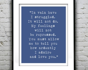 Mr Darcy Jane Austin Love Quote Typography Art Print Quote.