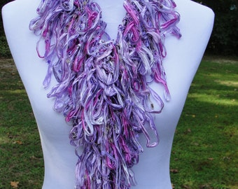 Hand Knit Fashion Scarf in Beautiful Variegated Shades of Pink and Purple with a Subtle Sparkle