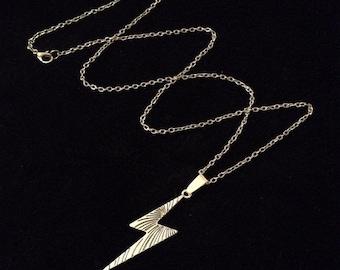 80p UK P&P Handmade lightning bolt necklace 24inch chain harry potter deathly hallows inspired scar pendant silver *UK*Seller!