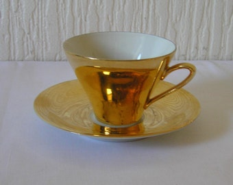 Vintage Art Deco Gold Lustre  Espresso Coffee Cup  and Saucer Johan Seltman Bavaria 1930