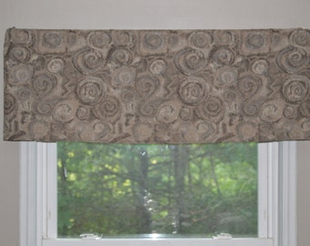 Cornice Valance, Window Treatment, Gray, Brown, Tan Window Valance, Kitchen valance, Nursery Valance, Beach Valance