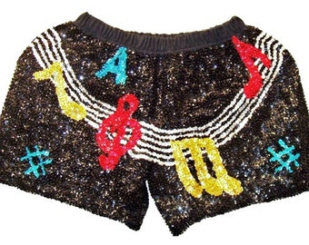 Sequin Short One Size Black w/Color Music Notes on Bar