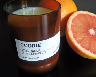 Grapefruit Scented Soya Candle & Recycled Glass Bottle Container