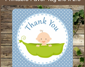 Baby Shower Pea in a Pod, Printable Favor Tag, Blue Pea in a Pod Baby Shower Boy Tag, Instant Download, Baby Shower Decoration