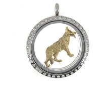 German Shepherd charm in antique gold plated pewter for large 30 mm Charm My Story Lockets.  Also fits Origami Owl lockets and major brands