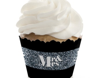 Mr. & Mrs. Silver Cupcake Wrappers - Wedding Party Cupcake Decorations - Set of 12
