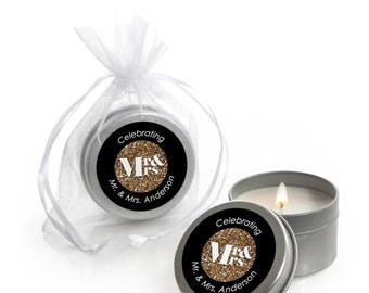 12 Count Mr. & Mrs. - Gold Candle Tin Wedding Favors