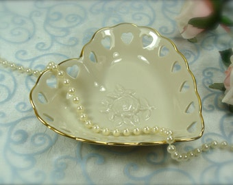 Beautiful Little Porcelain Heart Shaped Dish by Lenox Made in USA