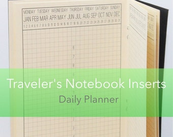 Day on One Page Daily Planner {A6 Size} Traveler's Notebook Insert Booklet // Choose Cover & Paper Colors!