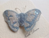 Moth Brooch/Pin. A silk moth in shades of cream and pale blue, 7cm.