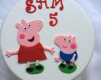 peppa pig cake topper edible fondant 2D figure birthday inspired