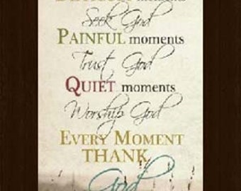 Happy Moments Praise God Inspirational Religious Beige Neutral Print Picture Framed Art  20x36""