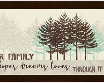 """Our Family Hopes Dreams Loves Through It All Tree Aqua Green Brown Print Picture Framed Art  13x22"""""""