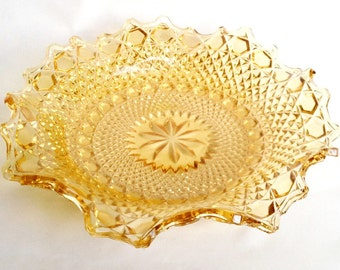 Vintage amber glass fruit bowl