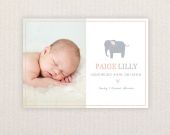Girls Photo Birth Announcement. I Customize, You Print. Elephant.