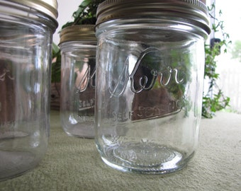 Vintage Kerr Mason Jar Set of Seven (7) Pint Wide Mouth Self Sealing Canning or Fruit Jars Rustic Farmhouse Kitchen Storage or Decor