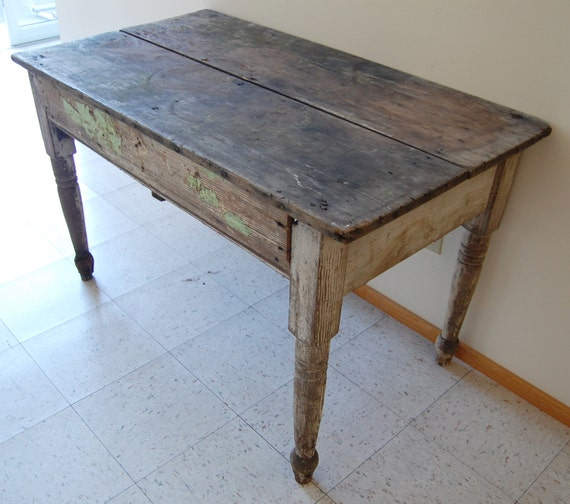 FREE SHIP Primitive Farm Table Vintage Large Rustic Chippy Dark