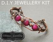 Jewelry Kit ~ Wire wrapped bracelet~ Birthday gift idea ~ Diy jewelry ~ Beading pattern instructions ~ Pdf ~ Handmade ~ Bangles ~ Weaving